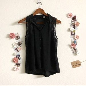 Black Laced Short Sleeved Button Up